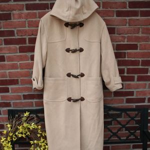 Eddie Bauer Long Wool Hooded Coat, toggles, M